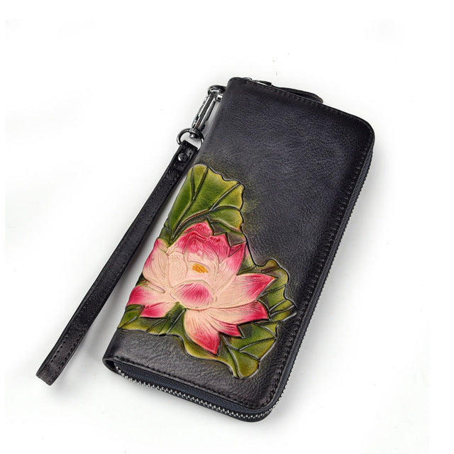 Vintage Lotus Flower Clutch Genuine Leather - BohoSparkle.com