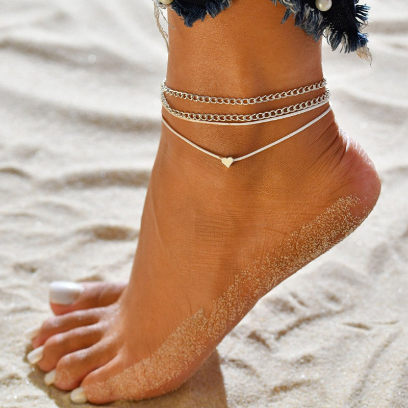 Lilith Multi Layer Simple Heart Anklet - BohoSparkle.com