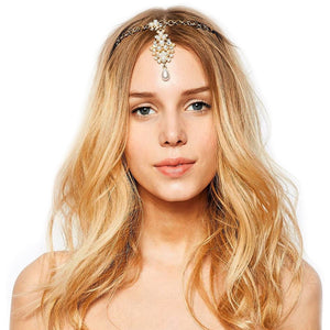 Lyra Imitation Pearl Gold Headpiece - BohoSparkle.com
