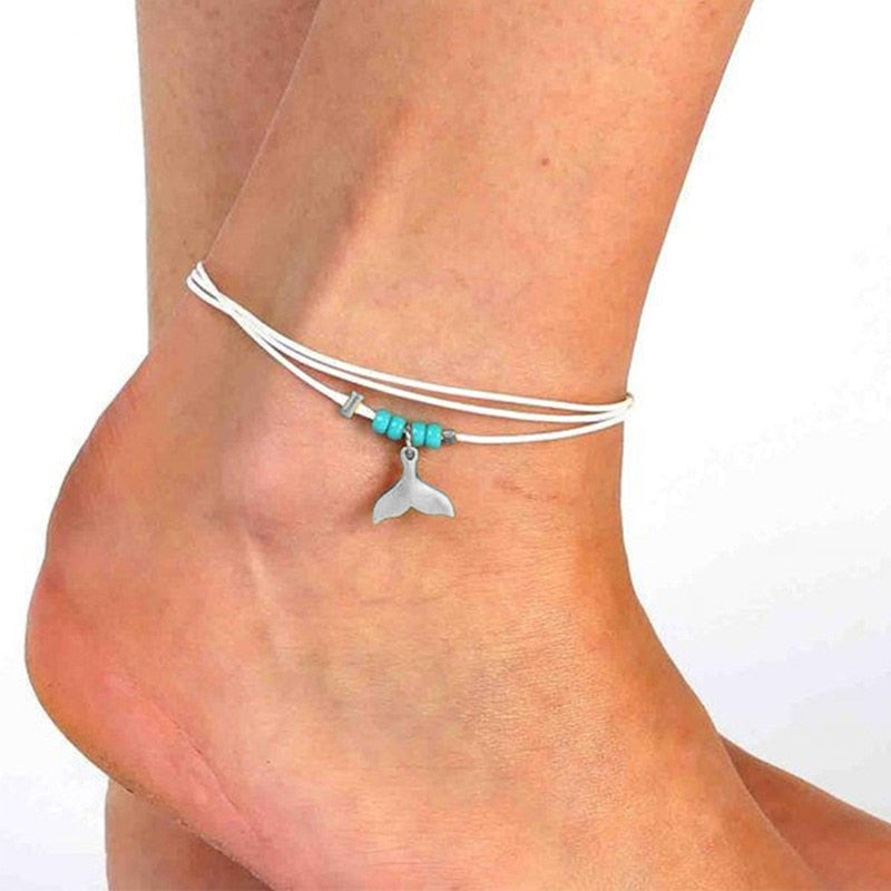 Vanora Mulitlyered Mermaid Tail Anklet - BohoSparkle.com