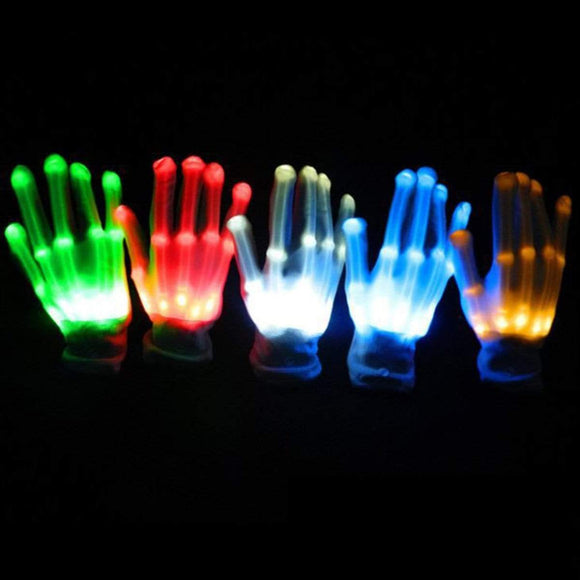 Tryot 1pcs LED Flashing Gloves Glow Light Up Finger Lighting Dance Party Decoration Glow Party Supplies Choreography Props Christmas