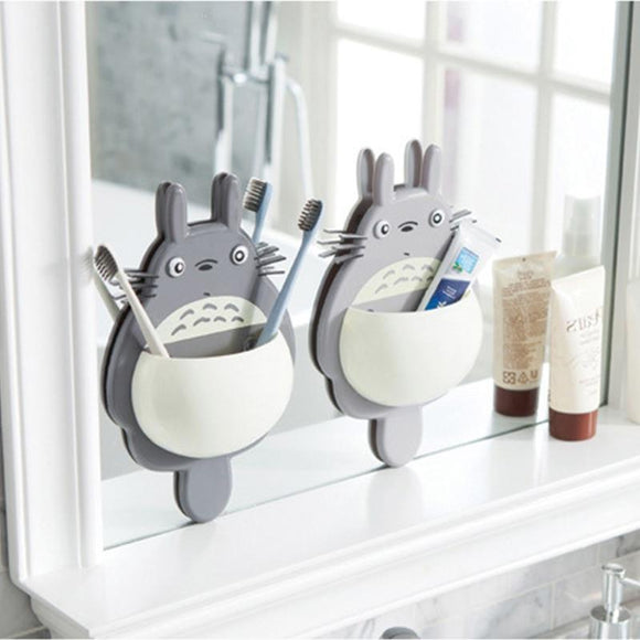 Tryot 1pcs Toothbrush Wall Mount Holder Cute Totoro Sucker box Bathroom Organizer Tools Accessories