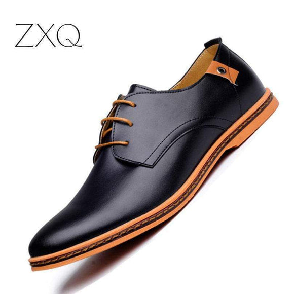 Tryot 2019 Leather Casual Men Shoes Fashion Men Flats Round Toe Comfortable Office Men Dress Shoes Plus Size 38-48