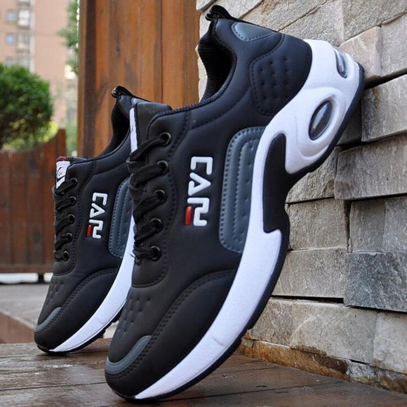 Tryot 2019 New Men's Casual Shoes Shock Absorption Cushion Shoes Campus Wind Non-Slip Shoes Leather Stitching Men's Casual Shoes