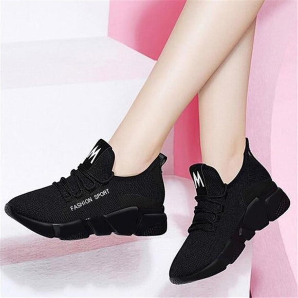Tryot 2019 Spring New Women casual shoes fashion breathable lightweight Walking mesh lace up flat shoes sneakers women D336