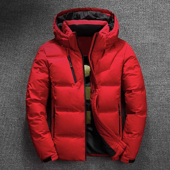 Tryot 2019 Winter Jacket Mens Quality Thermal Thick Coat Snow Red Black Parka Male Warm Outwear Fashion - White Duck Down Jacket Men