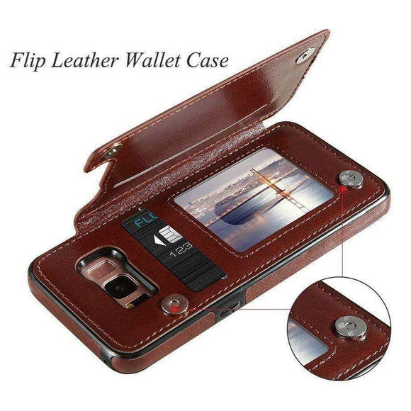 Tryot 4 in 1 Retro Leather Case for Samsung Phones