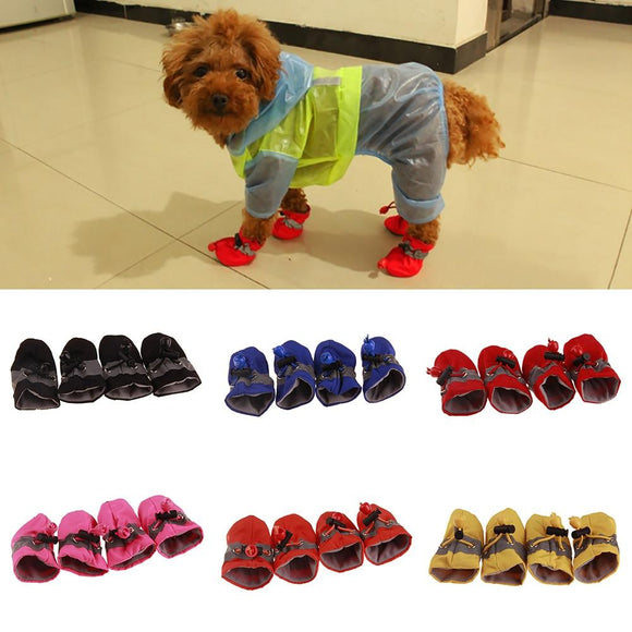 Tryot 4Pcs/set Pet Dogs Winter Shoes Rain Snow Waterproof Booties Socks Rubber Anti-slip Shoes For Small Dog Puppies Footwear Cachorro