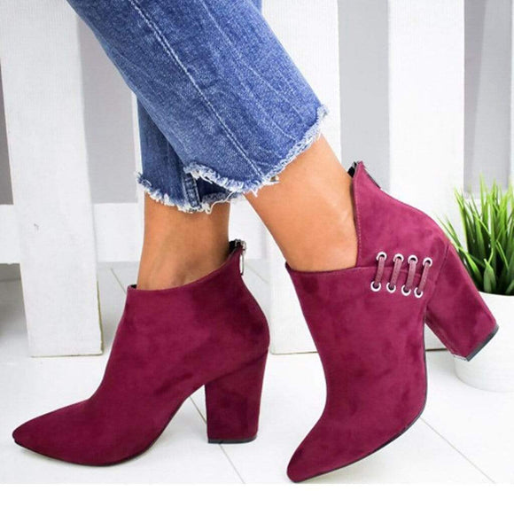 Tryot Adisputent New Women Shoes Ankle Sexy Boots Short Boots High-heel Fashion Pointed Europe Shoes Woman Plus Size 35-43