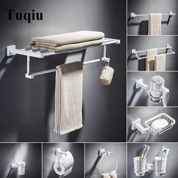 Tryot Bathroom Accessories Set,Paper Holder,Towel Bar,towel rack,Towel Hanger,Towel Rail White Brass Square bathroom Hardware set