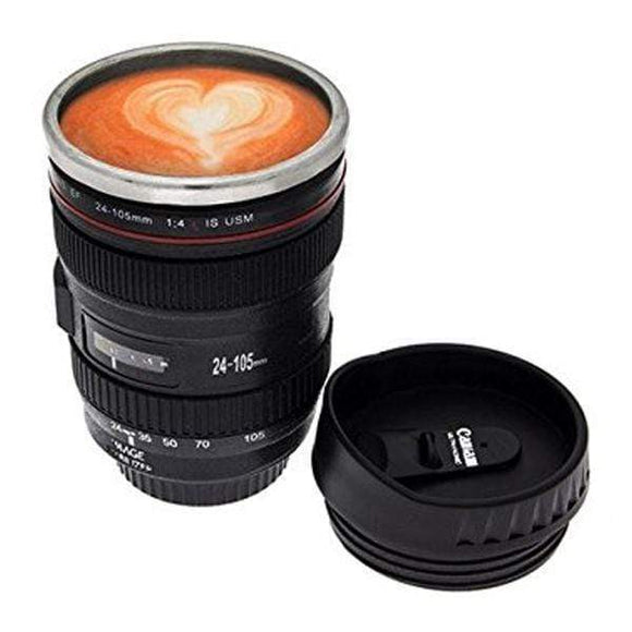 Tryot Black SLR Camera Lens Stainless Steel Travel Coffee Mug with Leak-Proof Lid