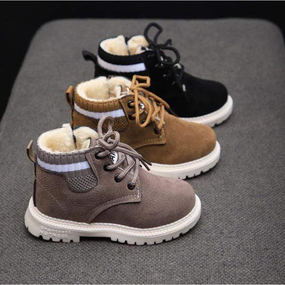 Tryot Children Casual Shoes Autumn Winter Martin Boots Boys Shoes Fashion Leather Soft Antislip Girls Boots 21-30 Sport Running Shoes