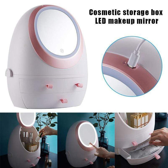 Tryot Cosmetic Storage Box Skin Care Products Organzier for Makeup with Mirror LED Lights QRD88