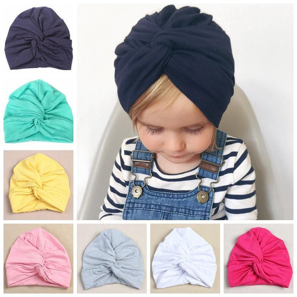 Tryot Cute 12 Colors Cotton Blend Baby Turban Hat Newborn Beanie Caps Headwear Infant Toddler Shower Hat Birthday Gift Photo Props