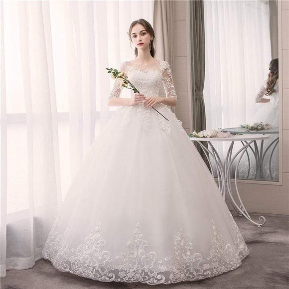Tryot Do Dower Lace Half Sleeve O Neck Wedding Dress Fashion Slim Embroidery Lace Up Plus Size Custom Made Wedding Gown Casamento L