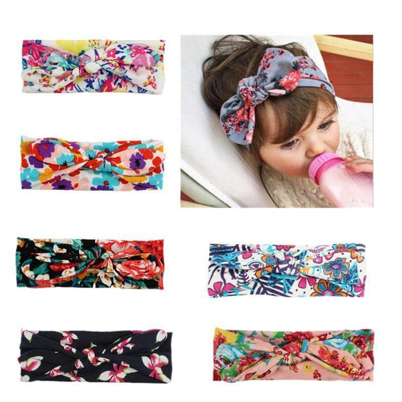 Tryot EE BABY Lovely Bowknot Elastic Head Bands For Baby Girls Headband For Children Tuban Baby Baby Accessories Floral Hair haarband