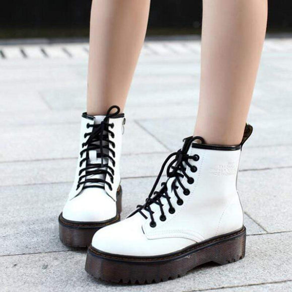 Tryot Fashion Women Jason Martins Boots Autumn  Winter Motorcycle Ankle Platform Boots Ladies Boots Black PU Leather Shoes