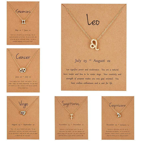 Tryot Female Elegant Star Zodiac Sign 12 Constellation Necklaces Pendants Charm Gold Chain Choker Necklaces for Women Jewelry Dropship