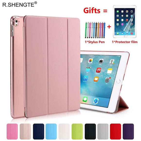 Tryot For iPad 9.7 2018 2017 Case Ultra Slim Pu Leather Stand Smart Cover for iPad 5 6 Air 1 2 5th 6th Generation With Stylus Pen+Film