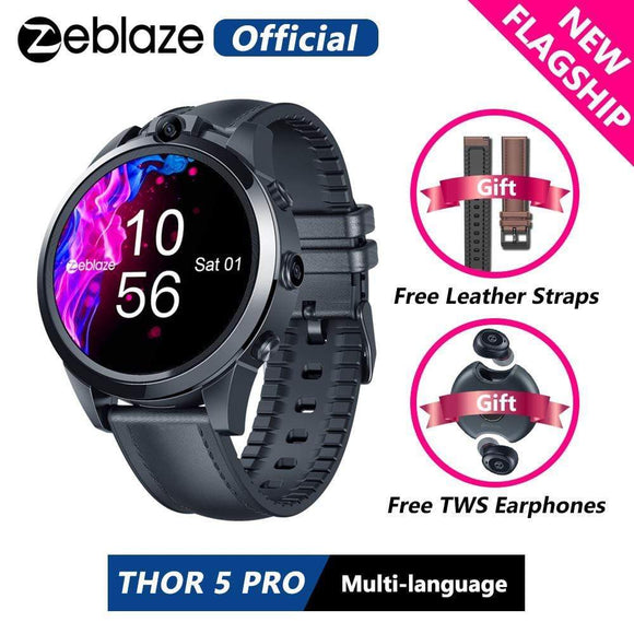 Tryot [Free Leather Straps+TWS Earphones] New Flagship Zeblaze THOR 5 PRO Ceramic Bezel 3GB+32GB Dual Camera Face Unlock Smart Watch