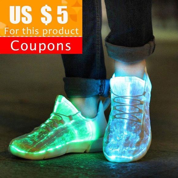 Tryot KRIATIV Luminous Sneakers Glowing Fiber Optic Fabric Light Up Shoes for Kids White LED Sneakers Flashing Shoes with Light