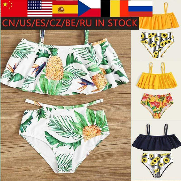 Tryot LOOZYKIT Girls Leaf Print Ruffle Bikini Set Two-piece Swimsuit eachwear Pool Two Pices Swimsuit Kids Swimsuit Girls Swimwear Set