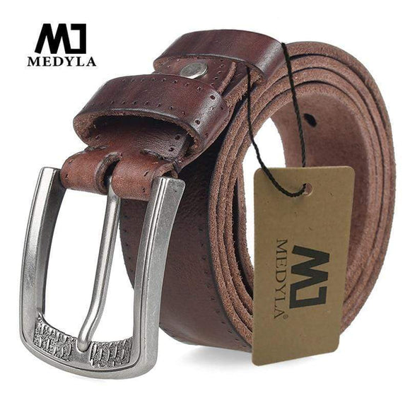 Tryot MEDYLA Men Belt 100% Cowhide Alloy Pin Buckle Blue Color Personality Choice Cowhide Male Strap Jeans Waistband Gift
