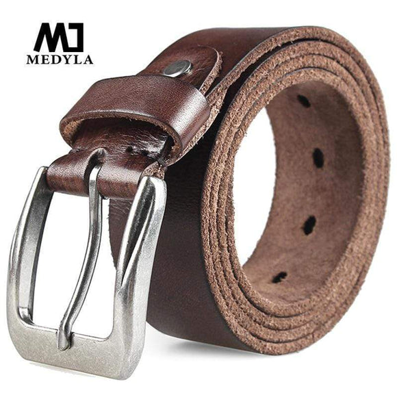 Tryot MEDYLA Men Top Layer Leather  Casual High Quality Belt Vintage Design Pin Buckle Genuine Leather Belts Male Waistband Cummerbund