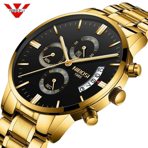 Tryot NIBOSI Men Watch Chronograph Sport Mens Watches Top Brand Luxury Waterproof Full Steel Quartz Gold Clock Men Relogio Masculino