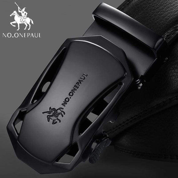 Tryot NO.ONEPAUL Brand Fashion Automatic Buckle Black Genuine Leather Belt Men's Belts Cow Leather Belts for Men 3.5cm Width WQE789