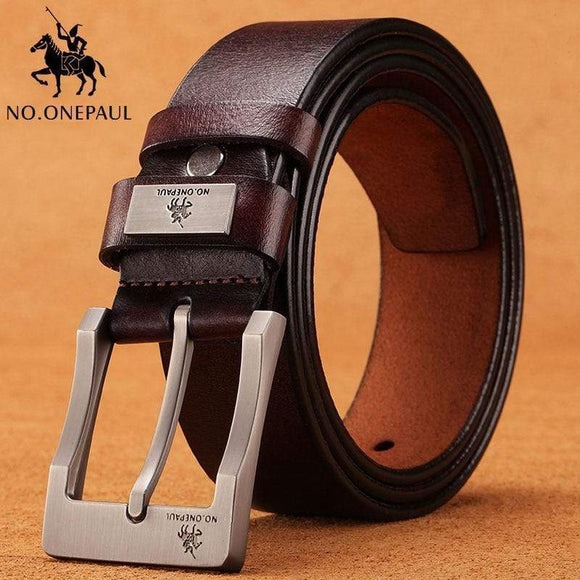 Tryot NO.ONEPAUL cow genuine leather luxury strap male belts for men new fashion classice vintage pin buckle men belt High Quality
