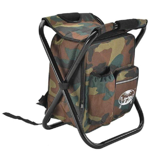 Tryot Outdoor Fishing Chair Bag Folding Camping Stool Portable Backpack Cooler Insulated Picnic Bag Hiking Seat Table Bag Bear 150KG