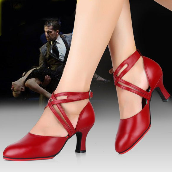 Tryot Professional Women Ballroom Latin Dance Shoes Leather Red Tango Shoe Ladies Closed Toe Salsa Shoes Female High Heels 8cm