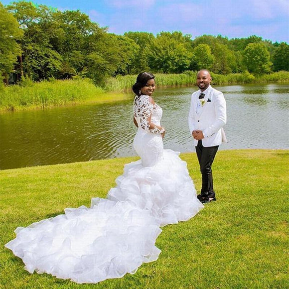 Tryot Sheer Ruffles Cathedral Train Mermaid Wedding Dresses 2020 Lace Beaded Plus Size African Wedding Gown
