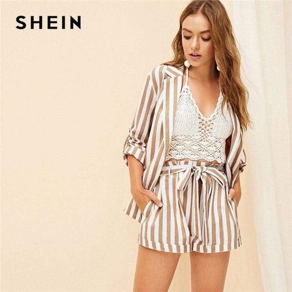 Tryot SHEIN Khaki Notched Collar Vertical-Stripe Roll Up Sleeve Blazer or Belted Shorts Set Spring Summer Women Casual Two Piece Set