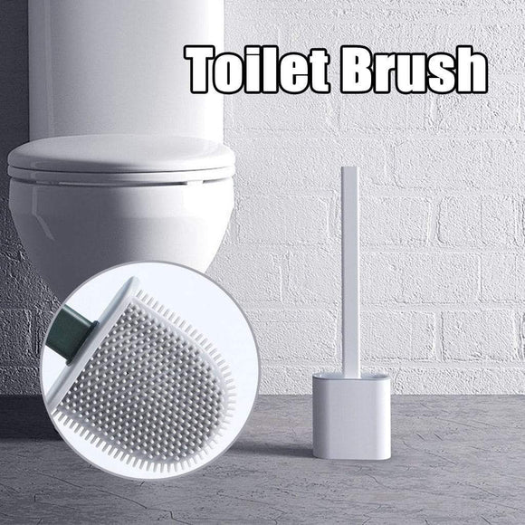Tryot Silicone Wc Toilet Brush Wall Mounted Flat Head Cleaning Brush Set Toilet Brush Holder Set Clean Tool Durable Bathroom Accessory