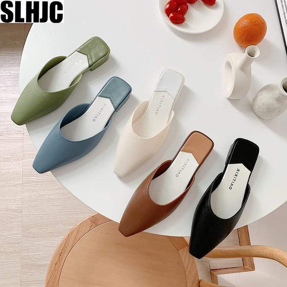 Tryot SLHJC Square Toe Mules Slippers Women Summer Autumn Fashion Candy Color Flats Sandals Jelly Slides Holiday Beach Shoes Anti