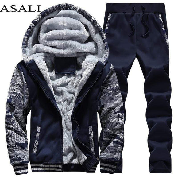 Tryot Tracksuit Men Sporting Fleece Thick Hooded Brand-Clothing Casual Track Suit Men Jacket+Pant Warm Fur Inside Winter Sweatshirt