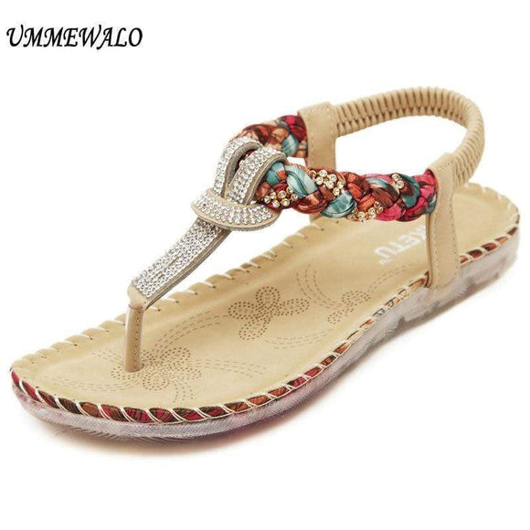 Tryot UMMEWALO Summer Sandals Women T-strap Flip Flops Thong Sandals Designer Elastic Band Ladies Gladiator Sandal Shoes Zapatos Mujer