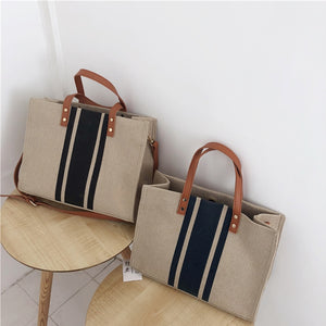 MIA Striped Canvas Tote