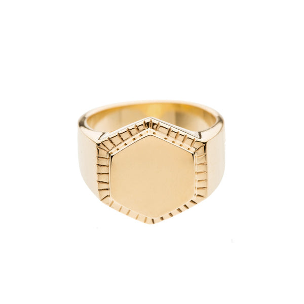 FINE LINE HEXAGON SIGNET RING