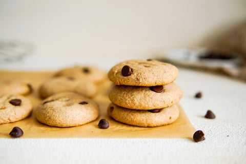 three stacked chocolate chip cookies