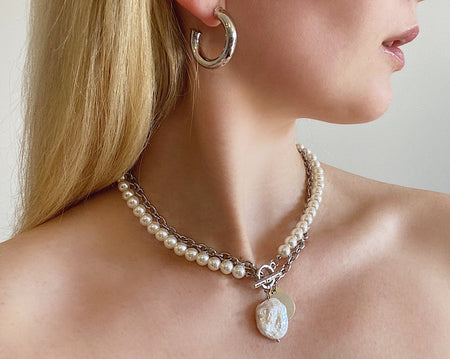 Bowie Pearl and Chain Double Neck Piece Silver