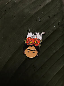 frida khalo with cat empowering women feminist enamel pin