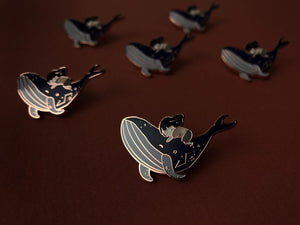 Whale and Girl Constellation Rose Gold Hard Enamel Lapel Pin