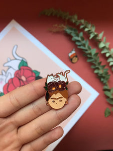 rose gold frida khalo with cat empowering women feminist enamel pin