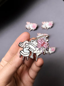 Rose gold piano enamel pin with florals