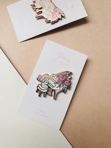 Rose gold piano enamel lapael pin backing card