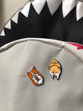 Load image into Gallery viewer, shiba inu enamel pin and corgi pin on backpack