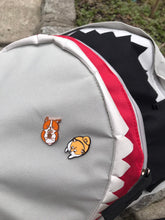 Load image into Gallery viewer, cute shiba and corgi enamel pins on shark backpack